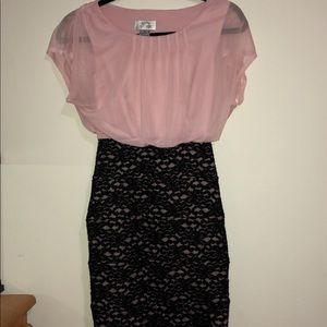 Pink Formal/business dress with black lace bottom